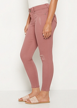 Dusty Pink Distressed Better Butt High Rise Jegging