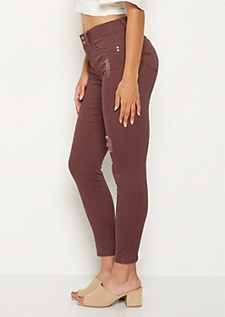 Purple Distressed Better Butt High Rise Jegging