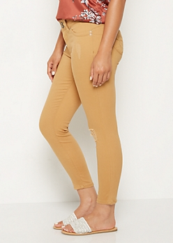Mustard Distressed Better Butt High Rise Jegging