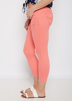 Coral Better Butt Distressed High Waist Jegging