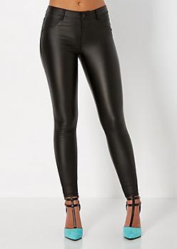 Black Coated Skinny Pant