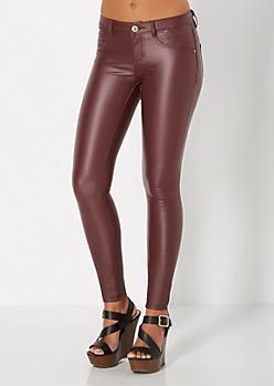 Burgundy Coated Skinny Pant