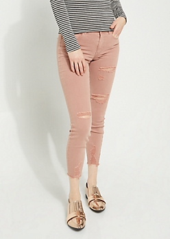 Pink Distressed Mid Rise Ankle Jeggings in Regular