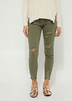 Olive Frayed Mid Rise Ankle Jeggings