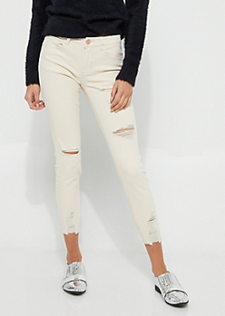Khaki Destroyed Mid Rise Ankle Twill Jeggings