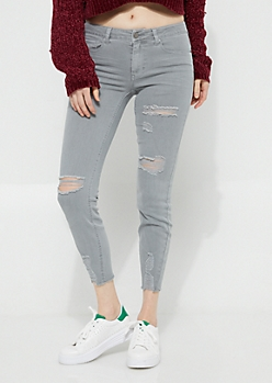Light Gray Destroyed Mid Rise Ankle Twill Jeggings