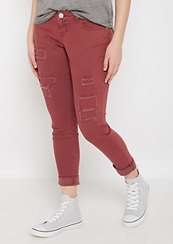 Burgundy Distressed Relaxed Twill Pant
