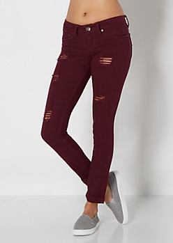 Burgundy Destroyed & Cuffed Twill Pant