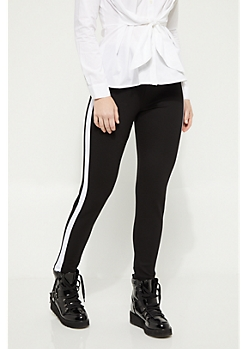 Black Striped Ponte Pant