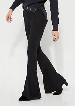 Black Soft Brushed Flare Pant