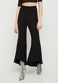 Black Knit Cascading Flare Pants