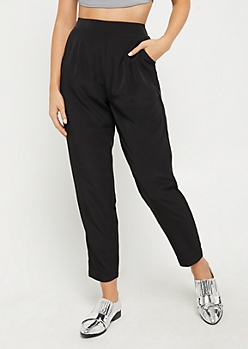 Black Woven Tapered Pant
