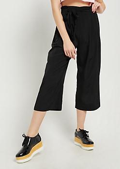 Black Paper Bag Waist Pant