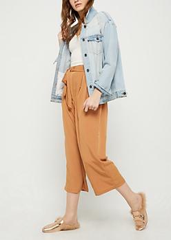 Golden Brown Paper Bag Waist Pants