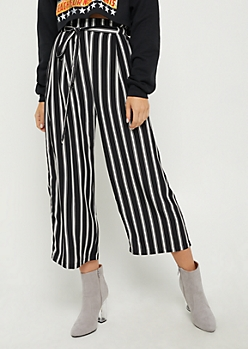 Striped Paper Bag Waist Pants