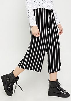 Pencil Striped Crepe Wide Leg Pant