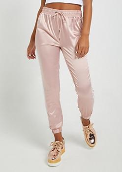 Pink Satin Jogger