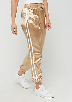 Gold Metallic Satin Jogger