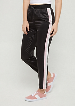 Black Striped Satin Pant