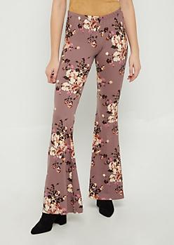 Lavender Floral Flared Soft Pants