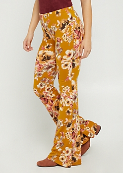 Mustard Floral Flared Soft Pants