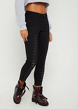 Lace Up High Rise Ankle Jegging in Regular