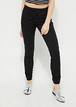 Black Moto Ruched Jegging