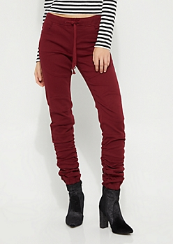 Burgundy Moto Ruched Jegging