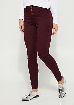 Burgundy 3-Shank High Rise Skinny Pants