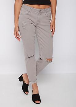 Gray Mid Rise Skinny Pant