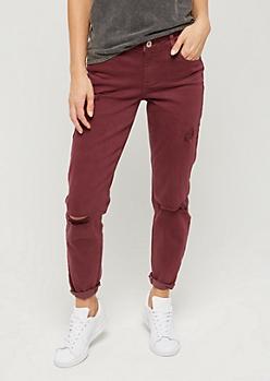 Burgundy Mid Rise Skinny Pant