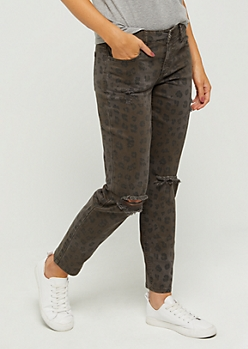 Leopard Distressed Skinny Pant