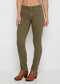 Olive Flex Mid Rise Skinny Pant