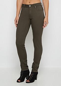 Dark Green Flex Mid Rise Skinny Pant