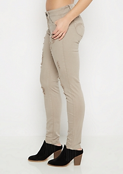 Light Gray Better Butt Distressed Jegging