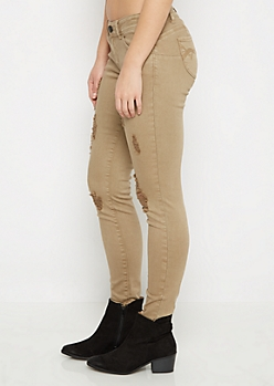 Taupe Better Butt Distressed Jegging