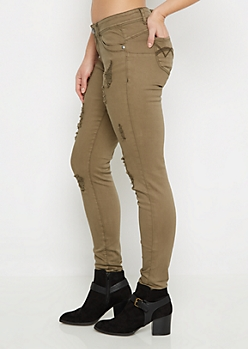 Olive Better Butt Distressed Jegging