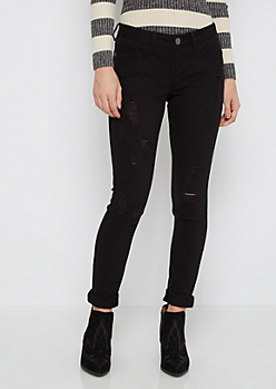 Black Ripped Twill Jegging