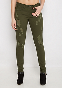 Dark Olive Ripped Twill Jegging