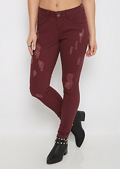 Burgundy Ripped Twill Jegging