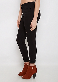 Black Better Butt Ripped Twill Jegging