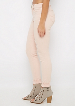 Light Pink Better Butt Ripped Twill Jegging