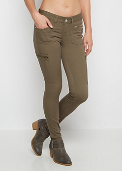 Dark Olive Zip Pocket Skinny Pant