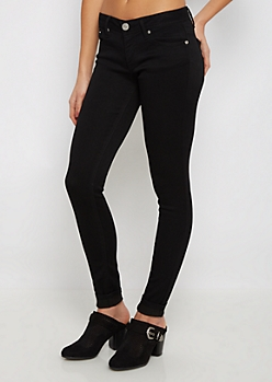 Black Low Rise Twill Jegging