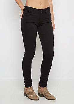 Black 2-Button Twill Skinny Pant