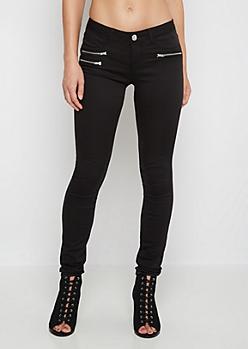 Triple Zip Twill Skinny Pant