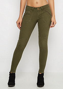 Olive Quilted Zip Moto Pant