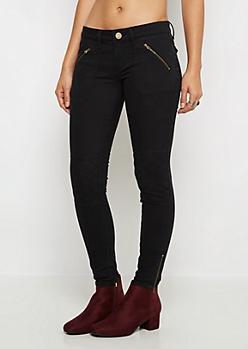 Black Quilted Zip Moto Pant