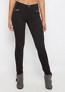Black Zip Pocket Skinny Pants