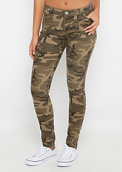 Camo Zip Pocket Skinny Pants